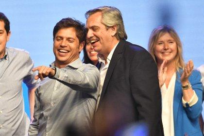 Los dos ganadores de la elección: Axel Kicillof y Alberto Fernández (Télam)