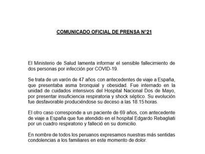 Comunicado oficial del ministerio de salud de Perú por la muerte de dos pacientes