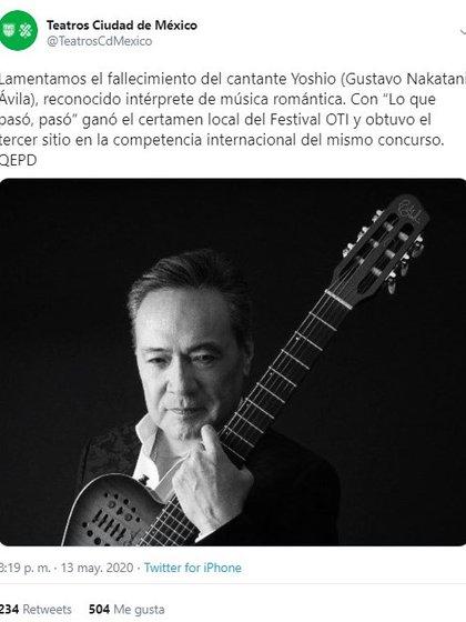 La instancia cultural reconoció el legado del intérprete (Foto: Twitter@CulturaCiudadMx)
