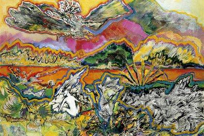 """""""La naturaleza y los mitos"""" (1975) técnica mixta sobre papel (67.5 x 97.5 cm), en Jacques Martíez"""