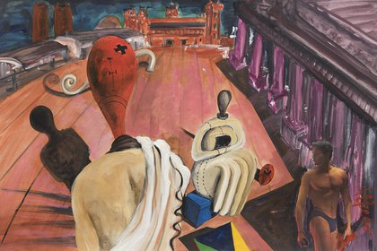 """Flashback De Chirico"", 1989 Acrílico y collage sobre papel, 65 x 100 cm. Acervo Alfredo Londaibere (Gonzalo Maggi)"