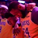 Jan 31, 2020; Los Angeles, California, USA; Los Angeles Lakers forward LeBron James reacts during the national anthem after a pre game tribute to Kobe Bryant before playing the Portland Trail Blazers at Staples Center. Mandatory Credit: Robert Hanashiro-USA TODAY Sports TPX IMAGES OF THE DAY
