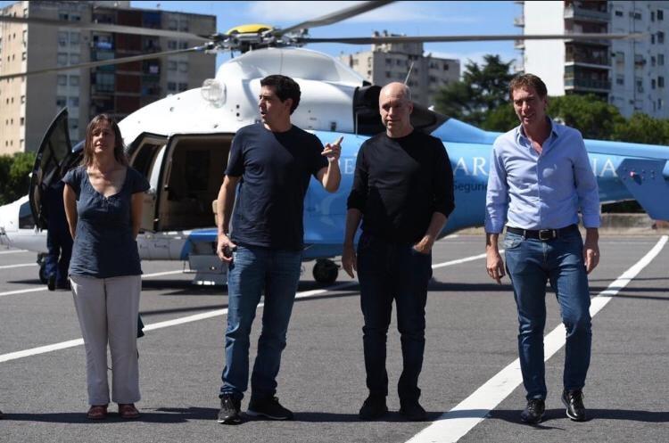 La ministra de Seguridad Sabina Frederic, el ministro del Interior Wado de Pedro, el jefe de Gobierno porteño Horacio Rodríguez Larreta y el vicejefe Diego Santilli