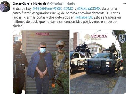 La información que compartió García Harfuch