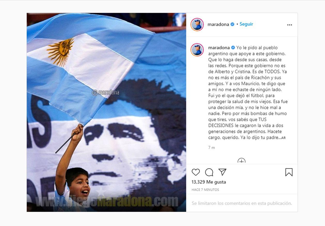 El mensaje de Maradona a Macri