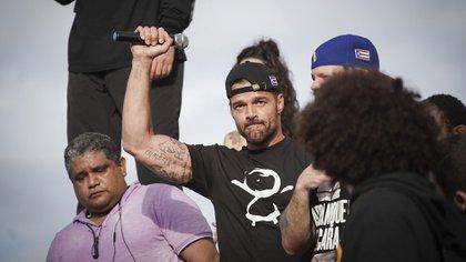 Ricky Martin encabezó las protestas contra el gobernador de Puerto Rico (Photo by eric rojas / AFP)