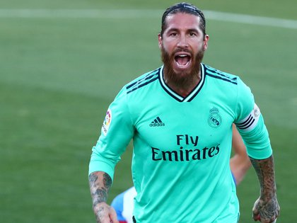 Soccer Football - La Liga Santander - Leganes v Real Madrid - Estadio Municipal de Butarque, Leganes, Spain - July 19, 2020   Real Madrid's Sergio Ramos celebrates scoring their first goal, as play resumes behind closed doors following the outbreak of the coronavirus disease (COVID-19)   REUTERS/Sergio Perez