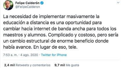 Así fue como Felipe Calderón criticó nuevo sistema de educación a distancia. (Foto: Captura de pantalla)