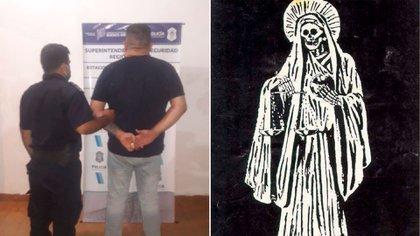 Córdoba, en una de sus varias detenciones. Y la imagen de San La Muerte