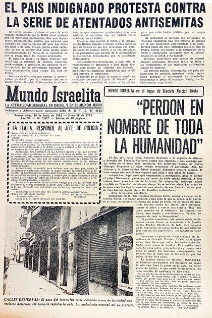 Mundo israelita, 30 junio 1962: los negocios cerrados en Villa Crespo y Once como protesta por el ataque anisemita