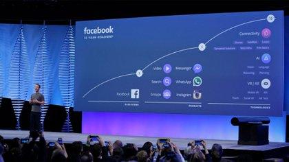 Mark Zuckerberg presenta la hoja de ruta de 10 años de la compañía en una conferencia en Facebook en 2016. (AP)
