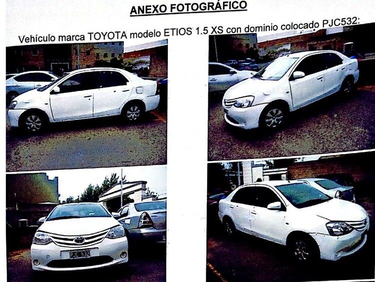 Imagen del expediente: así comienza la pericia al Toyota Etios.