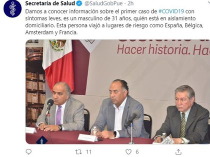 La Secretaría de Salud de Puebla confirmó el primer caso de coronavirus en la entidad (Foto: Twitter@SaludGobPue)