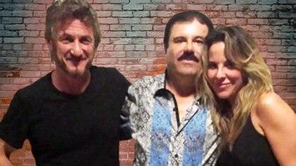 Sean Penn, El Chapo Guzmán y Kate del Castillo en un encuentro secreto para escuchar al capo y sus deseos de hacer una película sobre su vida (Foto: Archivo)