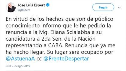 El tuit con el Espert anunció la renuncia de Scialabba