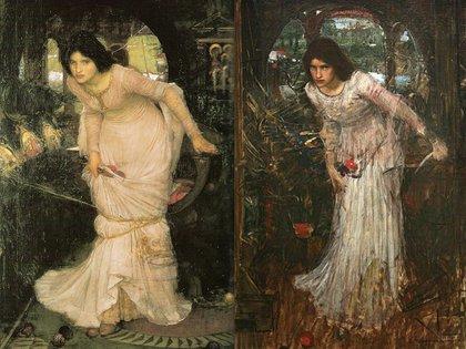 """Las dos versiones de """"La Dama de Shallot mirando a Lancelot"""" . A la izquierda la  de la Falmouth Art Gallery y a la dercha, la de la Galería de Arte de la Ciudad de Leeds"""