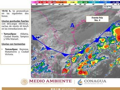 El Frente Frío No. 4 ya está causando efectos en municipios de Tamaulipas (Foto: Twitter@conagua_clima)