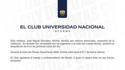 Pumas informó que José Miguel González no continuará como su entrenador por motivos personales (Foto: Twitter@PumasMX)