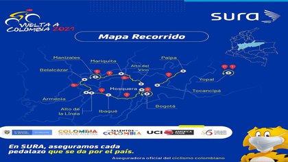 Mapa del trayecto de la Vuelta a Colombia UCI 2.2 - 2021