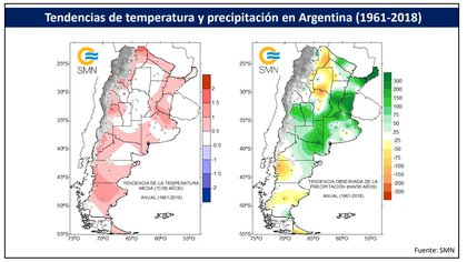 En rojo, a la izquierda, las zonas donde más aumentó la temperatura en Argentina en los últimos 58 años. En verde, a la derecha, las zonas donde más aumentaron las precipitaciones; en amarillo, las zonas donde más disminuyeron. (Gentileza Inés Camilloni. Fuente: Servicio Meteorológico Nacional)