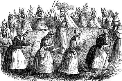 Demons are having enjoy on holly mass in the sabbath great company, vintage engraved line art illustration. Infernal Dictionary 1863.