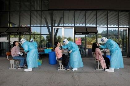 Trabajadores médicos de un hospital recolectan muestras de profesores de secundaria para pruebas de ácido nucleico en una escuela de Wuhan (China Daily via REUTERS)