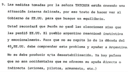 Detalle de documento que relataba el encuentro de Galtieri con Haig