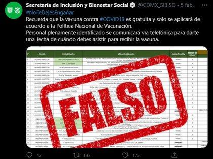 Por medio de este tuit se alertó a la población capitalina de la noticia falsa (Foto: Twitter@/CDMX_SIBISO)