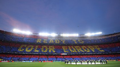 Soccer Football - Champions League Semi Final First Leg - FC Barcelona v Liverpool - Camp Nou, Barcelona, Spain - May 1, 2019  General view of Barcelona fans holding up banners to form a tifo before the match   REUTERS/Albert Gea