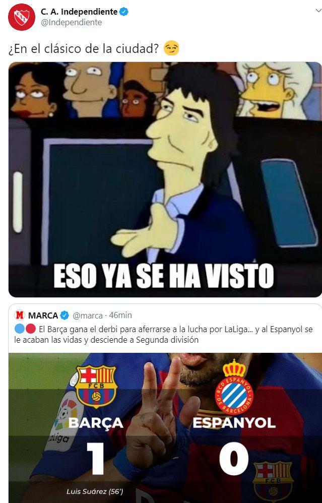 meme Independiente Racing descenso