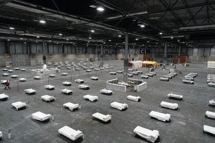 Camas en el hospital militar preparado en el centro de conferencias Ifema (Comunidad de Madrid via REUTERS)