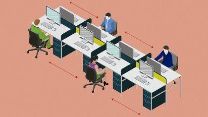 La nueva normalidad en las oficinas, con distanciamiento social (Shutterstock)