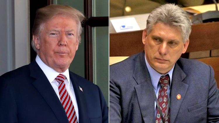 Donald Trump y Miguel Díaz-Canel, presidente cubano