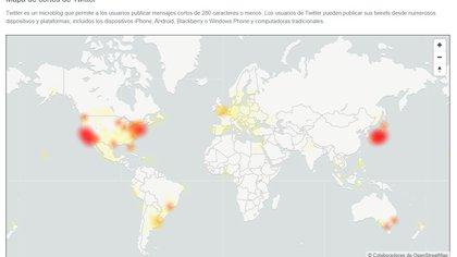 Esta red ha dejado incomunicados a millones de usuarios en los cinco continentes (Captura de pantalla: DownDetector)