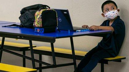 Sarai Machic, 8, in her class at Miami Community Charter School.  (Reuters)