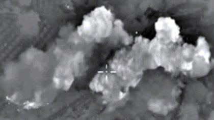 La cámara de un cazabombardero ruso registra la explosión de uno de sus proyectiles en Siria (Archivo)
