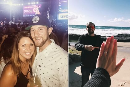 Austin Monfort y Chantal Melanson minutos antes de que comenzara la balacera (izq.) y en la selfie del día de su compromiso (der).