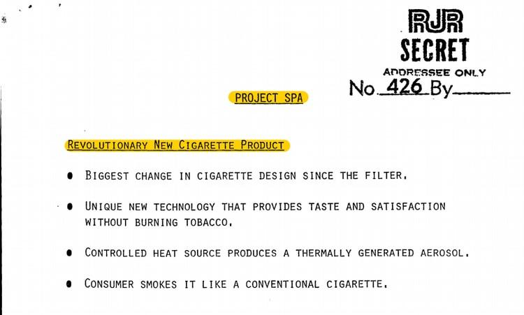 El proyecto Spa, que Reynolds creó hace cuatro décadas, es la inspiración del cigarrillo electrónico que se popularizó hacia 2010.