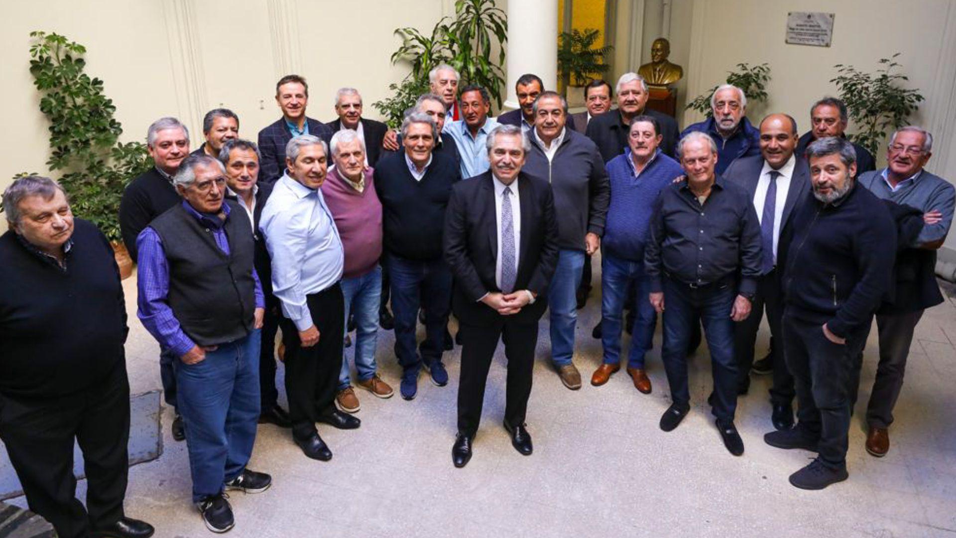 Los dirigentes de la CGT y Alberto Fernández, una relación llena de vaivenes