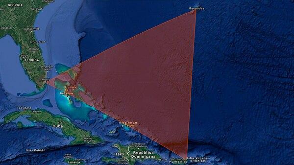 Ubicación aproximada del Triángulo de las Bermudas