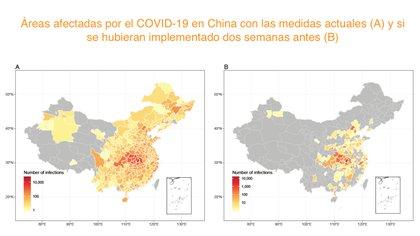 Si las medidas de control de epidemias se hubieran puesto en práctica dos semanas antes, el contagio del COVID-19 se habría reducido un 86 por ciento. (WorldPop/Universidad de Southampton)
