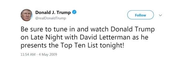 El primer tuit de @realDonaldTrump estabadestinado a hacer historia. (likewarbook.com)