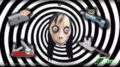 Una captura del mensaje de Momo que se ve en un video infantil