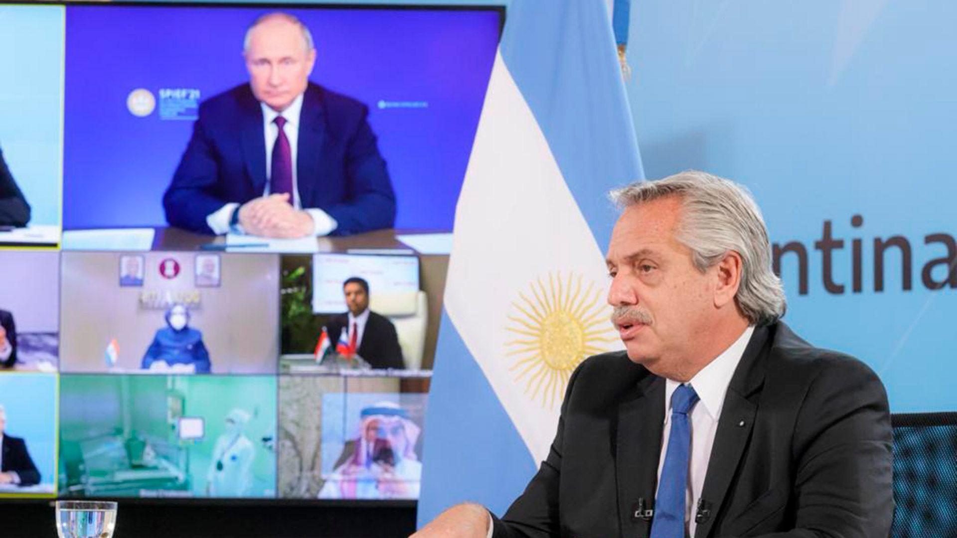 alberto fernandez vladimir putin produccion sputnik V argentina figueiras
