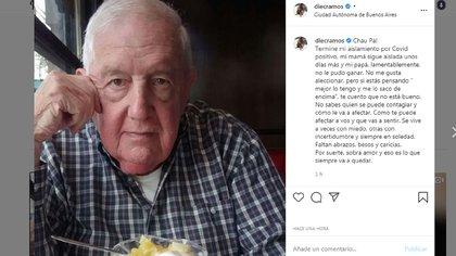El posteo de Diego Ramos por la muerte de su padre