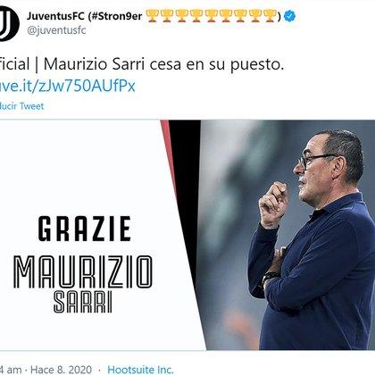 El comunicado oficial con la destitución de Maurizio Sarri