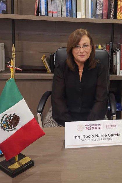 Rocío Nahle durante una reunión de trabajo este 3 de marzo (Foto: Twitter/SENER_mx)