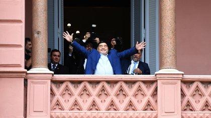Diego Maradona desde la Casa Rosada