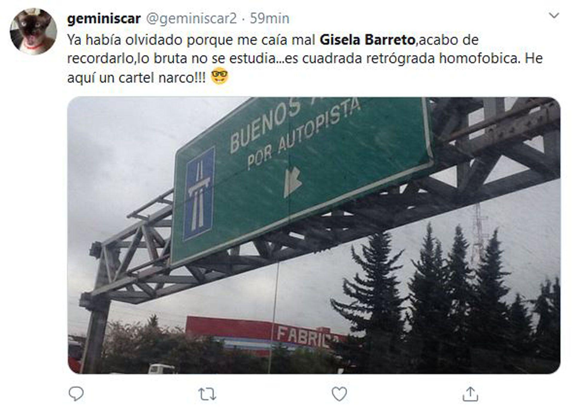 Los comentarios sobre la confusión de Gisela Barreto (Fotos: Twitter)