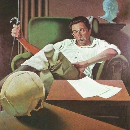 """""""El crítico de arte"""" (1977, obra perdida) de Héctor Giuffré"""